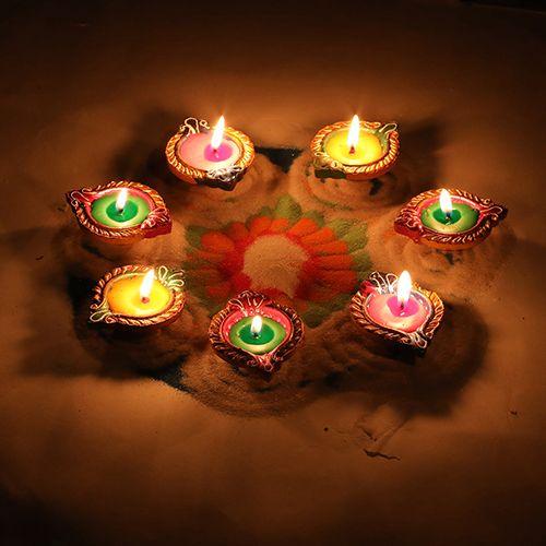 Diyaz Wax Diya Terracotta Pooja Decorative - Multicolour, 127 A, 12 pcs