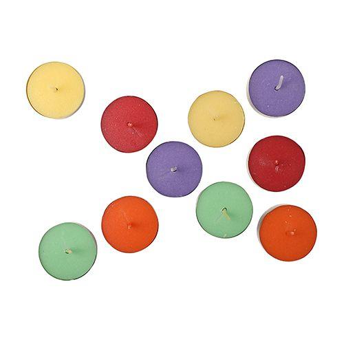 Diyaz Wax Tealight Candles Metal - Round, Multicolour, CD 28, 10 pcs