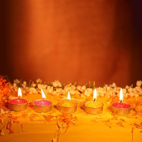 Classic Diya Wax Tealight Candles Metal - Round, Multicolour, CD 02, 10 pcs