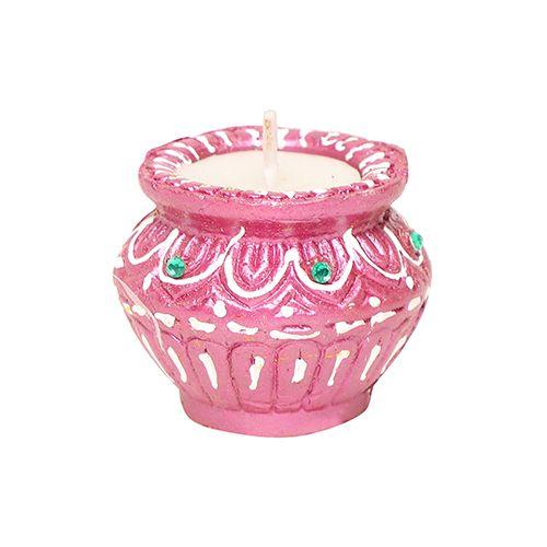 DP Wax Diya Terracotta Pooja Decorative - Matka Shaped, Multicolour, ED 129, 9 pcs