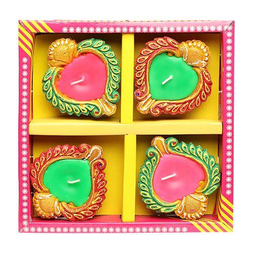 Diyaz Wax Diya Terracotta Pooja Decorative - Multicolour, 124 F, 4 pcs