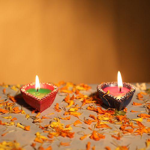 Diyaz Wax Diya Terracotta Pooja Decorative - Drop Shaped, Multicolour, 125 C, 4 pcs
