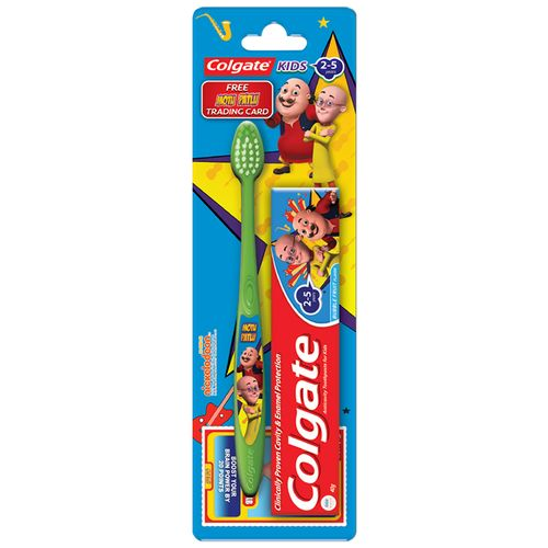 Colgate Kids Toothpaste - 2-5yrs, Bubble Fruit, Motu-Patlu, With Colgate Toothbrush, Super Junior, 0-2 Yrs, 2 pcs