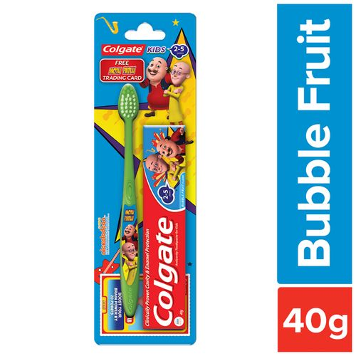 Colgate Kids Toothpaste - 2-5yrs, Bubble Fruit, Motu-Patlu, With Colgate  Toothbrush, Super Junior, 0-2 Yrs, 2 pcs