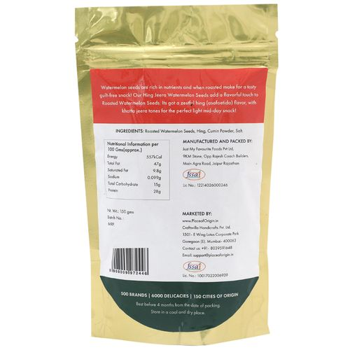 Place of Origin Roasted Watermelon Seeds - Hing Jeera, 150 g Pouch