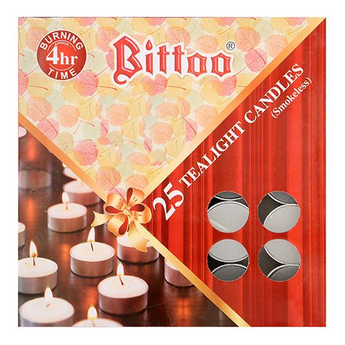 Bittoo Tealight Wax Candles - Metal, Smokeless, White, CD 05, 25 pcs