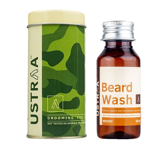 USTRAA Beard Wash - For Men, Woody, 60 ml