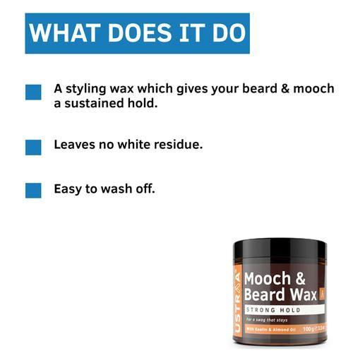 USTRAA Beard & Mooch Wax - Strong Hold, 100 g