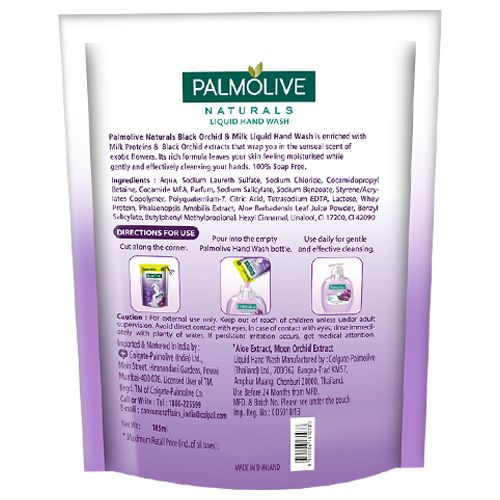 Palmolive Liquid Handwash - Black Orchid & Milk, Refill Pack, 185 ml