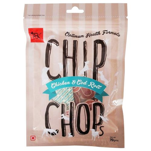 Chip Chops Dog Treats - Chicken & Codfish Roll, 70 g