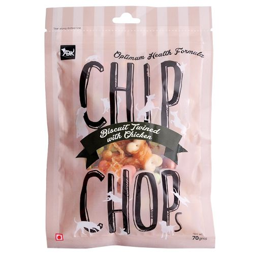 Chip Chops Dog Treats - Biscuit Twined With Chicken, 70 g