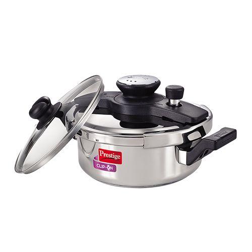 Prestige Stainless Steel Clip On Pressure Cooker, 3 L