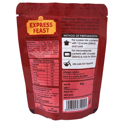 Express Feast Vegetable Biryani - Ready To Eat, 80 g