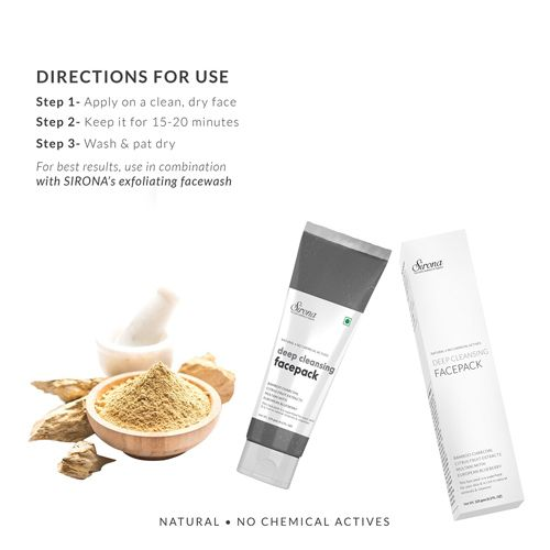 Sirona Natural Deep Cleansing Face Pack For Men & Women, 125 g