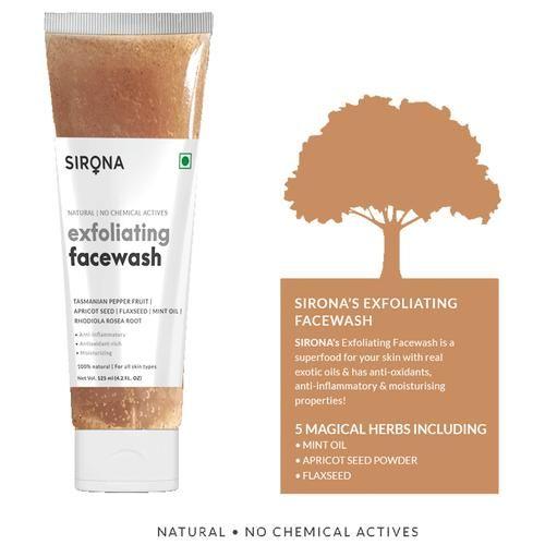 Sirona Natural Exfoliating Face Wash For Men & Women, 125 ml