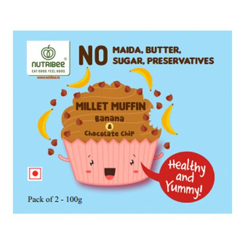 Nutribee Millet Muffins - With Chocochips, 50 g Pack of 2