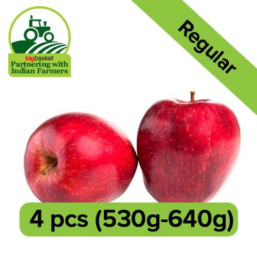 Fresho European Red Apple - Regular, 4 pcs Approx. 530-640 gm