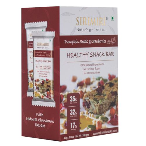 Sirimiri Nutrition Bar - Pumpkin Seeds & Cranberries, 40 g Pack of 6
