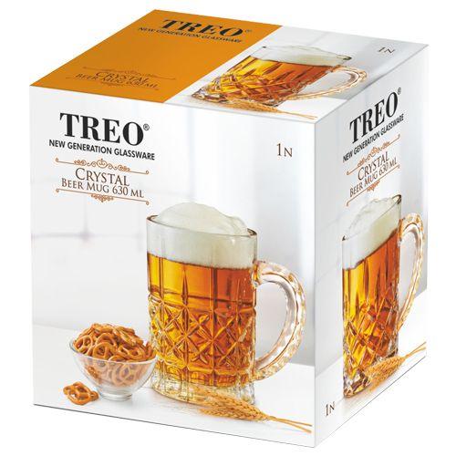 Treo Crystal Bruiser Transparent Glass Beer Mug, 1 pc