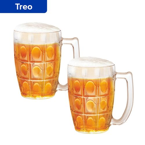Treo Cascade Transparent Glass Beer Mug, 2 pcs