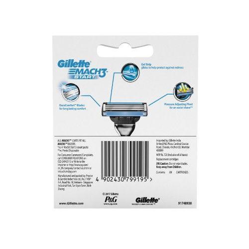 Gillette Mach3 - Start Mens Razor Blades, Cartridge, 8 pcs