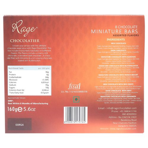 Rage Assorted Chocolate Bars, 160 g Pack of 8