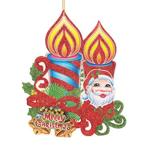 DP Christmas-Xmas Decorative Candle Shape Hangable - Paper, Multicolour, BB1126-3, 1 pc