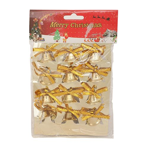 DP Christmas-Xmas Hangable Decorative Bells - Golden, BB1132 GLDN, 12 pcs