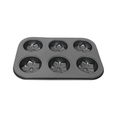 DP Muffin-Chocolate Moulds - Metal, Slot of 6, Grey, BB 1027 GRY, 1 pc