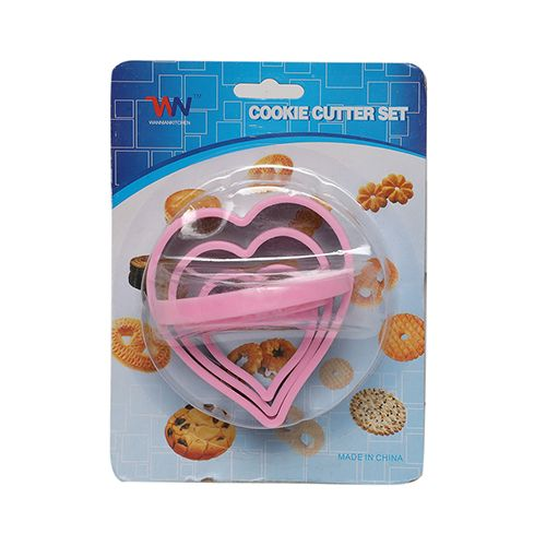 Wannian Kitchen Cookie-Brownie Cutters & Slicer - Stainless Steel, Silver, Heart Shape, BB 1031 SLVR, 3 pcs
