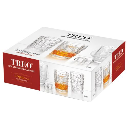 Treo Logan On the Rocks Whisky Glass Set, 350 ml