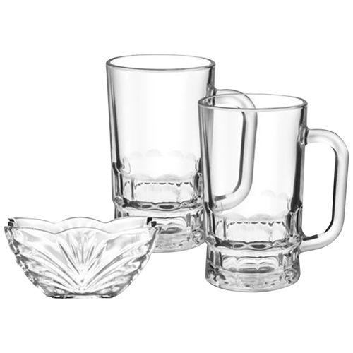 Treo Acropolis Beer Mugs With Glass Bowl Gift Set, 6 pcs