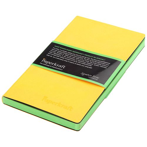 Paperkraft Unruled Notebook - Signature Colour Series, Yellow PU Cover With Green Pages, 1 pc