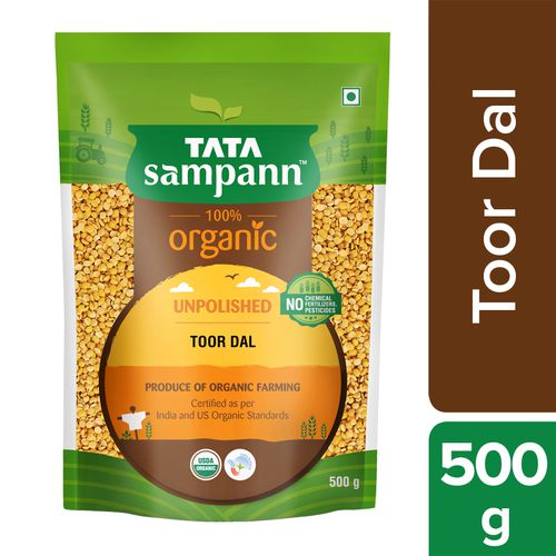 Tata Sampann OrganicToor Dal, 500 g