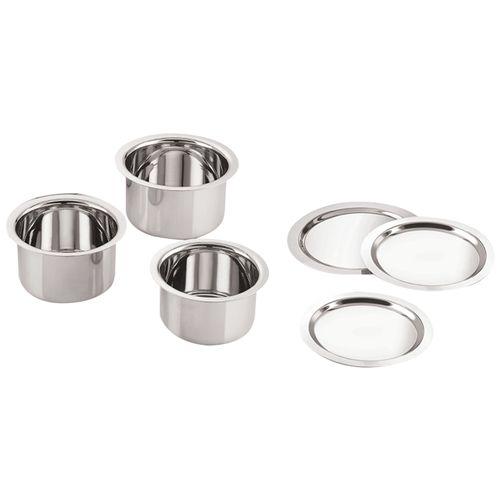 Neelam Tope/Patila Combo With Lid - 550ml + 950ml + 1100 ml, Stainless Steel, 3 pcs
