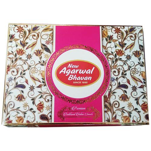 New Agarwal Bhavan Special Sweets - 4 Lines Assorted Kaju, 1 kg Box