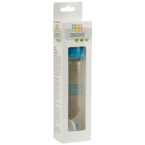Mee Mee Premium Glass Feeding Bottle - Blue, 250 ml