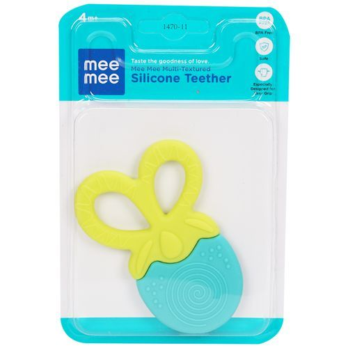 Mee Mee Multi-Textured Silicone Teether - Blue, 1 pc