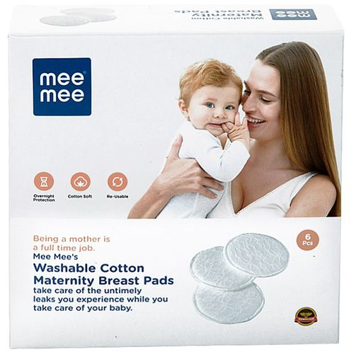 Mee Mee Washable Cotton Maternity Breast Pads - White, 6 pcs