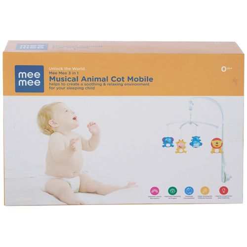 Mee Mee 3-In-1 Musical Animal Cot Mobile - Multicolour, 1 pc