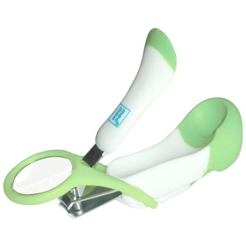 Mee Mee Gentle Nail Clipper With Magnifier - White/Green, 1 pc