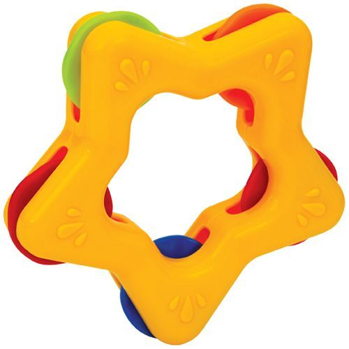 Mee Mee Star Shape Easy Grip Baby Rattle - Yellow, 1 pc
