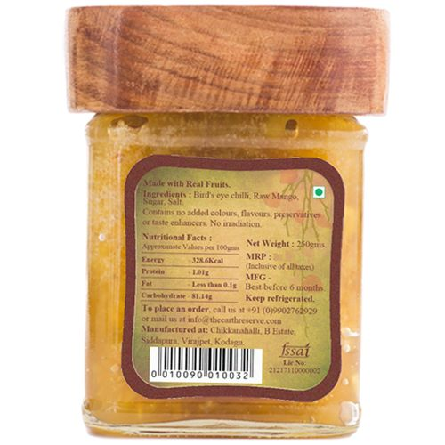 The Earth Reserve All Natural Bird's Eye Chilli In Raw Mango, Sweet & Spicy Pickle, 300 g