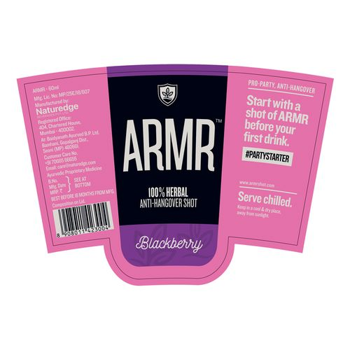 ARMR 100% Anti Hangover Drink - Blackberry, 60 ml Glass (Polycarb)