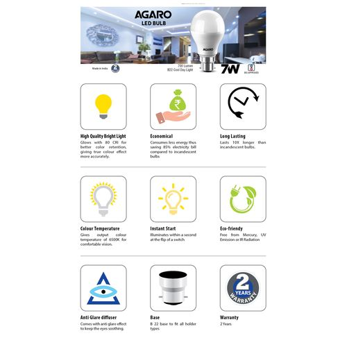 AGARO LED Bulb - 9 Watt, Cool Daylight, B22 Base, 1 pc