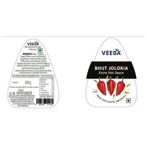 Veeba Bhut Jolokia Extra Hot Sauce, 300 g Pet Jar