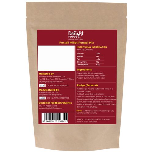 Delight Foods Foxtail Millet Pongal Mix, 400 g