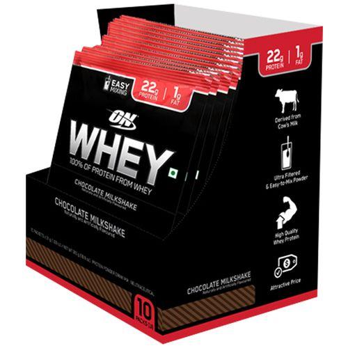 Optimum Nutrition 100% Whey Protein Powder, Trial Pack - Chocolate  Milkshake, 31 g Pack of 10