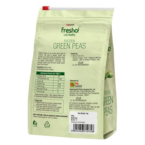 Fresho Frozen Green Peas, 1 kg Slider Zip Standy Pouch