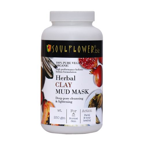 Soulflower Herbal Clay Mud Face Mask - For Cleansing & Brightening Skin, 250 g